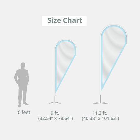 Teardrop Flags Size